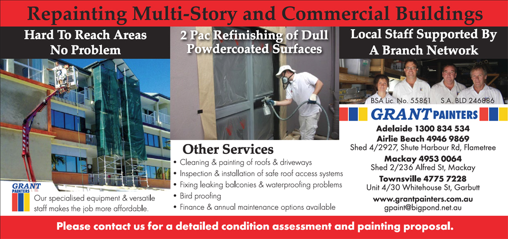 Grant Painters specialises in repainting multi-story & commercial buildings delivering a higher than normal standard of workmanship & technical capability. The company's list of services include…
