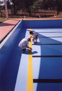 Commercial swimming pool painting